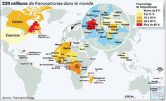 20 millions de locuteurs sur cinq continents • 13 Etats ayant le français comme langue officielle (France, Bénin, Mali…) Luxembourg…)
