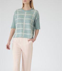 Womens Salt/white Graphic Short Sleeve Jumper - Reiss Faye