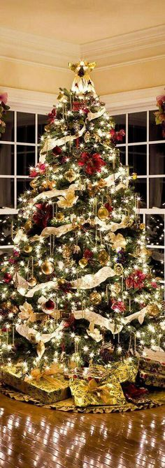 Charming Traditional Christmas Tree Decor Ideas Interior Design Charming Traditional Happy New Year Ribbon On Christmas Tree, Christmas Tree Themes, Noel Christmas, Christmas Traditions, Christmas Tree Decorations, Christmas Lights, Holiday Decor, Decorated Christmas Trees, Ribbon On Tree