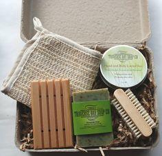 Gift set-gardener gift-chef gift-all natural-lotion bar-sisal wash cloth-wood soap dish-tea tree mit soap-Natural gift set-soap gift set.