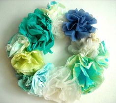 Paper and Fabric Floral Wreaths