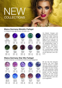 NEW COLLECTIONS UV-Farbgel Maica Germany Metallic und Star Mix Kollektion Germany, Metallic, Cosmetics, Collections, Stars, Get Tan, Beauty Products, Deutsch, Drugstore Makeup