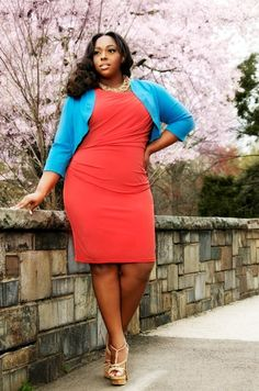 "Great color  color blocking   #curvy    #thick  ""if you follow my Curvy Girl's Spring/Summer Closet, make sure to follow my Curvy Girl's Fall/Winter Closet.""   http://pinterest.com/blessedmommyd/curvy-girls-fallwinter-closet/"