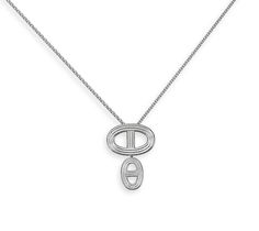 "Chaine d'Ancre 24 Silver Pendant Necklace Hermes ""Double"" pendant in silver, size GM. Adjustable from 15.4"" to 16.1"" long<br><br><span style=""color: #F60;"">This item may have a shipping delay of 1-3 days.</span><br><br>"