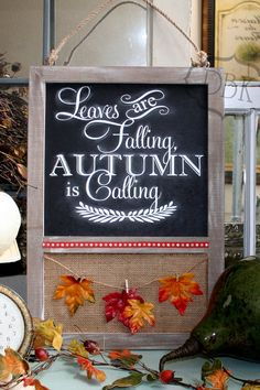 Fall Chalkboard Sign, Fall decor, Autumn Decor, by VinylDecalsByKelli on Etsy fall sign,fall,sign,falling leaves,chalkboard,leaves, board #falldecor, #falldecorating