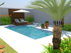 Resultado de imagem para small backyard with a small pool and barbecue Swiming Pool, Small Swimming Pools, Small Backyard Pools, Small Pools, Swimming Pools Backyard, Swimming Pool Designs, Pool Landscaping, Backyard Patio, Outdoor Pool