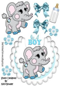 Little stitched ele on boys lace bib with bottle bows on Craftsuprint - Add To Basket! 3d Cards, Paper Cards, Printable Cards, Free Printables, 3d Sheets, Baby Clip Art, Little Stitch, Parchment Craft, Quick Cards