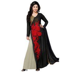 Georgette Embroidered Black & Grey Anarkali Salwar Kameez - EBSFSK291014 ( EBSFSK29 )