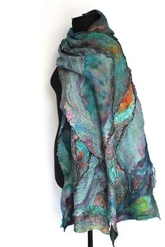 Marina Shkolnik - Nuno Felted Scarf Wrap - merino wool, silk, cotton gauze