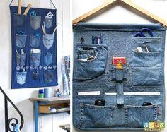 Jean Crafts, Denim Crafts, Hanging Closet Storage, Jean Apron, Denim Decor, Sewing Aprons, Patchwork Bags, Denim Bag, Denim Fashion