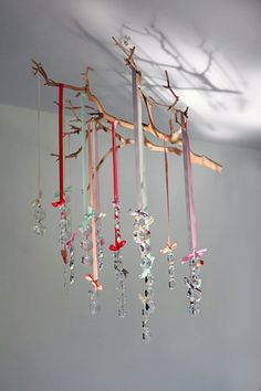 Ribbon Crystal ChandelierBeach Tones by TreehouseFancy on Etsy, $70.00