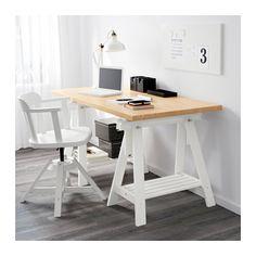LINNMON / FINNVARD Table - birch effect/white - IKEA