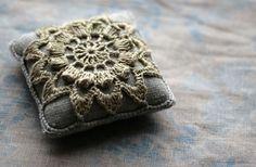 linen pincushion- crochet motif