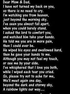 Dear mom and dad Chers Parents, Letter From Heaven, Dear Mom And Dad, Grief Poems, Loved One In Heaven, Grieving Quotes, Missing My Son, Grieving Mother, Missing You Quotes