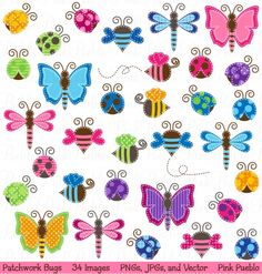 Patchwork Bugs Clipart & Vectors - Luvly Marketplace | Premium Design Resources #clipart #butterfly #bugs