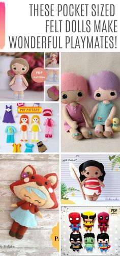 33 of the Cutest Doll Patterns for You to Make for Your Child Check out these ADORABLE doll patterns to make a new playmate for your child. Choose from sewing, crochet or felt doll patterns! Felt Crafts Diy, Felt Diy, Doll Crafts, Decor Crafts, Clay Crafts, Felt Doll Patterns, Stuffed Toys Patterns, Diy Doll Pattern, Felt Crafts Patterns