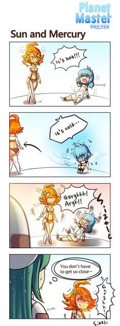 Sun and Mercury Fan art Me Anime, Anime Furry, Kawaii Anime, Anime Art, Cute Comics, Funny Comics, Space Anime, Earth Memes, Anime Version