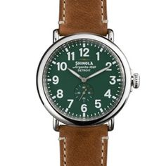 The Runwell 47mm brown leather watch with green face features a stainless steel case along with a Swiss quality quartz Argonite 1069 movement, which is hand-assembled in Detroit from nearly four-dozen Swiss made parts.