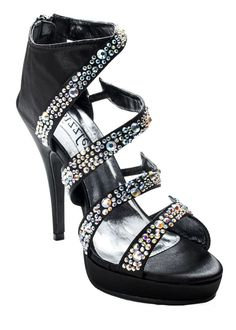 Find Sizzle by Coloriffics Natasha black satin bootie with opal stones, prom shoes online with ThePromDresses.com.  #RissyRoosProm