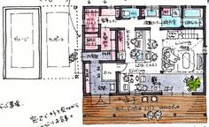 回遊動線。洗面の位置がいい! Craftsman Floor Plans, House Floor Plans, Japan Architecture, Material Board, Room Planning, Japanese House, Layout, Flooring, How To Plan