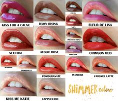 Here are our shimmer colors :) This lip color lasts up to 18 hours! Waterproof, smudge proof and KISS PROOF!!  Contact me today!  www.senegence.com/TimelessEleganceByTara