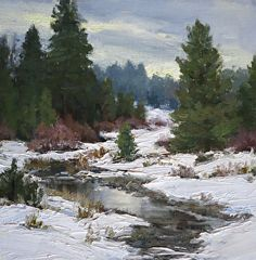 Deep in December by Kathleen Dunphy Oil ~ 12 x 12