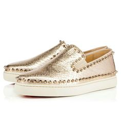 4a181447e080 Christian Louboutin United States Official Online Boutique - Pik Boat  Women s Flat Light Gold Colombe Lame Sirene available online.