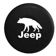 Black Wildlife Edition Jeep Lone Wolf Spare Tire Cover