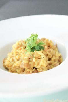 Risotto de setas, pavo y curry