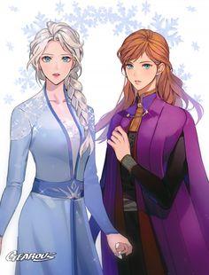 Anna and Elsa in Frozen 2 Frozen Disney, Disney Pixar, Frozen Art, Arte Disney, Elsa Frozen, Disney And Dreamworks, Disney Cartoons, Disney Animation, Frozen Anime