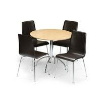 Julian Bowen Mandy Leather Round Dining Set Finish: Maple Veneer and Chrome Sizes: Dining table: Dia.90cm x H75cm Dining chairs: W44cm x D51cm x H89cm Seat: H47cm http://www.comparestoreprices.co.uk/dining-room-sets/julian-bowen-mandy-leather-round-dining-set.asp