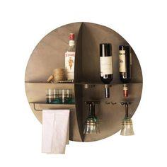 Metal Round Wall Hanging Wine Bar