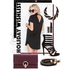 A fashion look from November 2015 by gojane featuring a holiday wishlist with a clutch, black heels, and jewelry.