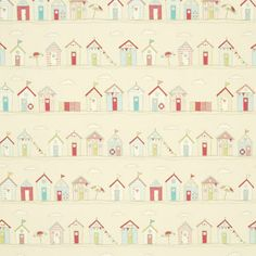 Bring the beach home with this fabulous Beach Huts curtain fabric in pink. Featuring a fun design of beach huts, bunting and umbrellas. Fantastic discounts now Cream Curtains, Pink Curtains, Curtain Material, Curtain Fabric, Pvc Fabric, Fabric Decor, Cotton Fabric, Decoupage, Beach Theme Bathroom