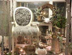 Vintage Chic Window Display.  Festive, winter, glam.