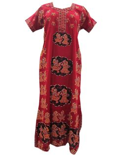 Long Maxi Dress Sleepwear Cotton Nightgown Hot Red Nighty