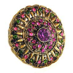 Hollycraft 1960's Pink, Amethyst and Green Brooch, Vintage Hollycraft Jewellery by AgedandOpulentJewels on Etsy https://www.etsy.com/listing/245477818/hollycraft-1960s-pink-amethyst-and-green
