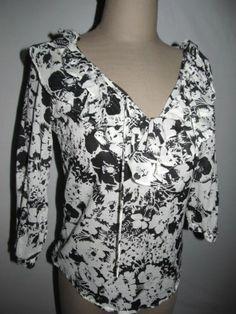 Ralph Lauren Size PXS Top Black White Ruffled V Neck 100% Cotton Pullover Blouse