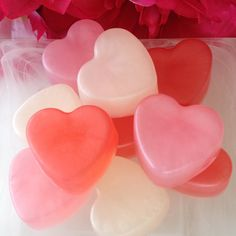Mini Heart Soaps - Heart Favor Soap - Heart Guest Soap - Rose Soap - Apple Soap - Plumeria Soap - Set of 3 Soaps Red Aesthetic, Character Aesthetic, Aesthetic Pictures, Cookie Run, Rose Soap, Mini Heart, Everything Pink, Kawaii, Be My Valentine