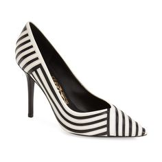 "Salvatore Ferragamo 'Susi' Pump, 3 3/4"" heel (29,655 THB) ❤ liked on Polyvore featuring shoes, pumps, nero lait leather, pointy-toe pumps, salvatore ferragamo shoes, pointy toe stiletto pumps, black white pumps and pointed-toe pumps"