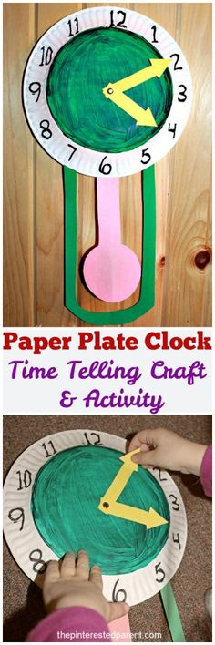 Paper Plate Clock - a time telling craft & activity for the kids. Preschool arts and crafts