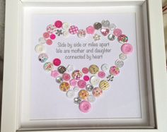 Mother & Daughter Mum Personalised Heart by ButtonsandBobbinsUK Diy Gifts For Mothers, Mothers Day Crafts For Kids, Mothers Day Cards, Mother Gifts, Children Crafts, Mothers Day Presents, Diy Mother's Day Crafts, Mother's Day Diy, Frame Crafts