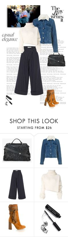 """""""Casual Chic for Tuesday"""" by shoptillyadrop ❤ liked on Polyvore featuring Fendi, Yves Saint Laurent, Monse, Ann Demeulemeester, Chloé, Bobbi Brown Cosmetics, StreetStyle, Winter, chic and denim"""