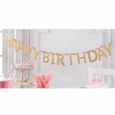 """Mud Pie Birthday Princess Gold Glitter """"Happy Birthday"""" Banner Garland Sign"""