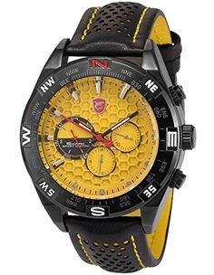 Shark Herren Armbanduhr 6 Zeiger Analog Lederband Zwei Zeitzonen Uhr SH083 - http://uhr.haus/shark-2/shark-herren-armbanduhr-sh083