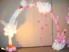 Stork and baby balloon arch