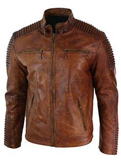 Men/'s Fringed Short Western Cowboy Cafe Racer Brown Biker Real Leather Jacket