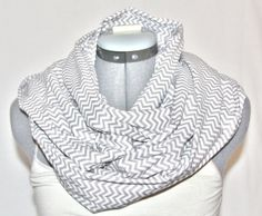 Chevron Grey and White Light Scarf by AllThingsAccessories on Etsy, $25.00