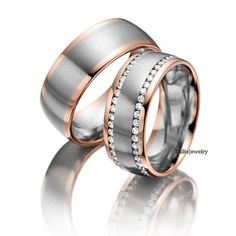 ONSALE-5/13-5/23 10K Two Tone Gold Wedding Bands,His and Hers Matching Rings Set,Diamond Wedding Rings,Womens Wedding Bands,His & Hers Weddi