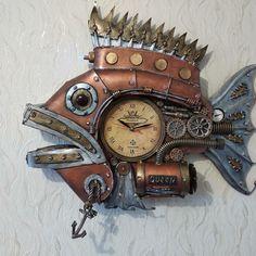 Steampunk Clock, Wood Watch, 1, Fish, Accessories, Style, Steampunk Watch, Wooden Clock, Swag